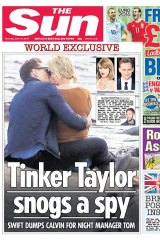 Swift and Tom Hiddleston pictured on the front page of The Sun kissing on a remote Rhode Island beach rock.