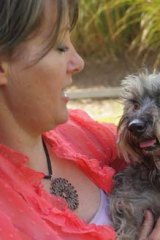 Maggie with her new owner, Catherine Scullin.