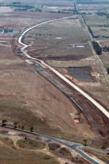 Aerial view of work on Regional Rail Link near Wyndham Vale.