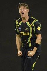 Top scalp: Shane Watson grabs Chris Gayle's wicket.