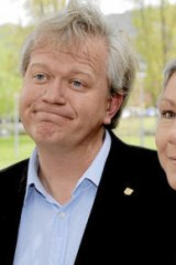 The wife of Brian … with his wife, Jenny Gordon, in Canberra last October.