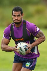 Back at training: Melbourne winger Sisa Waqa is back at training after his horrific fall last Friday.