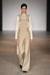 A tonal look, seen here in a model wearing Bianca Spender, gives overalls a sophisticated finish.