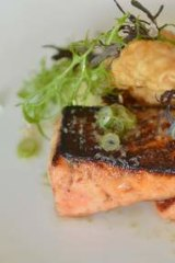 Miso roasted salmon with egglant puree.