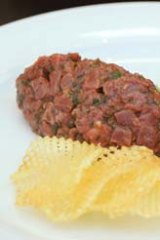 Guillaume Brahimi's steak tartare with pommes gaufrettes