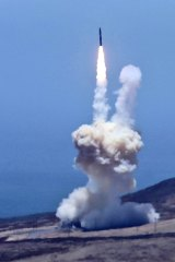 A rocket designed to intercept an intercontinental ballistic missiles is launched from Vandenberg Air Force Base.
