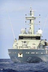 HMAS Ararat, pictured, and HMAS Larrakia responded to an emergency call near Christmas Island.