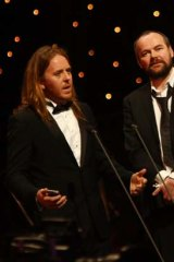 Tim Minchin and co-creator Dennis Kelly accept the award for best musical.