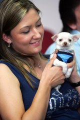 Ashleigh Johnson with her dog Diego.