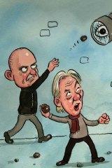 Taking aim ...  Jodee Rich and Julian Assange.