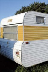 Home on the range: the caravan in which Adrian Trevett lived.