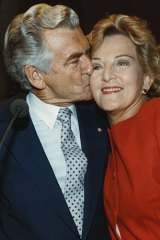 Bob Hawke and his then wife, Hazel, on election night, 1990.