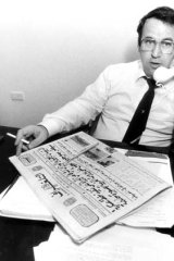 Eddie Obeid at the offices of the <em>El Telegraph</em> in September 1983.