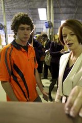 The Prime Minister, Julia Gillard tours the Leader Joinery factory in Fyshwick.