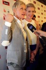 Ellen DeGeneres says her wife Portia de Rossi gets nervous for her ahead of this year's Oscars.