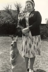 """We are opposed to any kangaroo products whatsoever'' ...  Marjorie Wilson at her  home in 1981 with a sculptured friend."