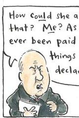 Indignant ... Alan Jones. <em>Illustration: Cathy Wilcox</em>.