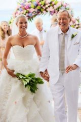 Celebrations: Kristy Hinze and Jim Clark on their wedding day in 2009.