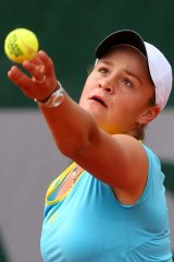 Take that: Ashleigh Barty during her upset opening-round win.