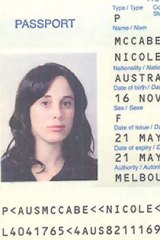A photograph released by the Dubai police on February 24, 2010, allegedly shows the Australian passport of Nicole Sandra McCabe.