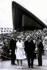 Fit for a queen ... the Queen opens the Opera House in 1973.
