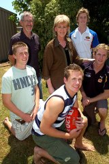Family fun: Joel Selwood (front), dad Bryce, mum Maree, and brothers Troy, Scott and Adam.