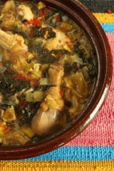 Cabbage and chicken soup.