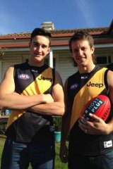 Canberran Ivan Soldo, 18, with cousin Ivan Maric, after the former basketballer signed as a rookie with Richmond