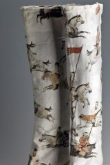 <i>Tang Dynasty Polo</i>, 2011, Sergio Rossi Boots with ink on rice paper, by Peng Wei, of China.