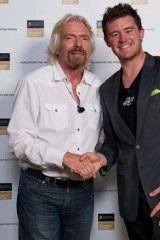 Sir Richard Branson with Canberra businessman Mick Spencer.