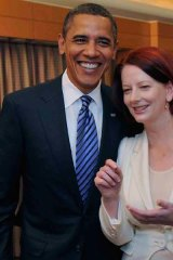 Engaging ... Julia Gillard meets Barack Obama in Tokyo last month. The Americans watched her rise closely.