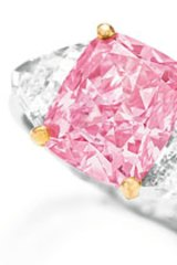 The diamond has a vivid pink hue and is considered near perfect, but not quite flawless.