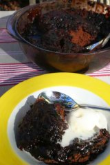 Quick and easy ... Microwave chocolate self-saucing pudding.