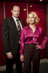 Magnates: Kerry Packer (Rob Carlton) and Ita Buttrose (Asher Keddie) in <i>Paper Giants: The Birth of Cleo</i>.