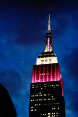 The Empire State Building  is lit up in burgundy and white in June to mark the 10th anniversary of Qatar Airways flying to the United States.