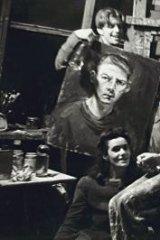 Artists in Arthur Boyd's studio, left to right: Matcham Skipper, Myra Skipper, Joy Hester, Yvonne Lennie, Arthur Boyd and David Boyd about 1945.