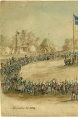 Eureka moment: Charles Doudiet's <i>Swearing allegiance to the Southern Cross</i>, 1854. Watercolour, pen and ink on paper 16.7 x 23.2 cm Collection: Art Gallery of Ballarat.  Purchased by the Ballarat Fine Art Gallery with the assistance of many donors, 1996.