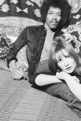 Met in London: American singer and guitarist Jimi Hendrix with girlfriend Kathy Etchingham in his Mayfair flat in January 1969.