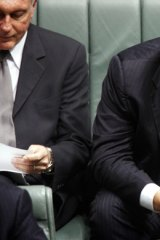 Mainstream ... Shadow Treasurer Joe Hockey uses his Blackberry during question time.
