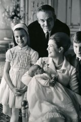 Rainer and Kelly with children Caroline and Albert at Princess Stephanie's christening.