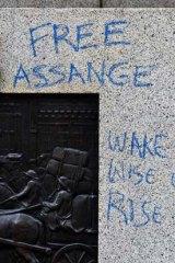 Graffiti on the statue.