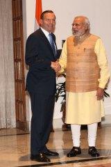 Prime Minister Tony Abbott with Indian Prime Minister Narendra Modi.