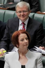 History repeating? ... union bosses have urged factions not to dump prime ministerJulia Gillard, pictured with Kevin Rudd.
