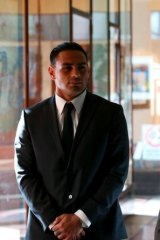 Reni Maitua arrives at the Downing Centre court on Monday.
