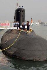 The Indian Navy's Sindhurakshak submarine is docked in Visakhapatnam in 2006.