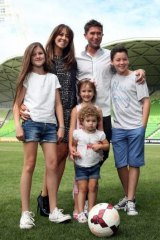 Harry Kewell with his wife Sheree Murphy and children Dolly Kewell, Ruby Kewell, Matilda Kewell and Taylor Kewell.