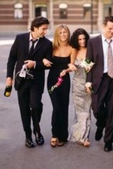 Comedy institution: Aniston (second from left) and the cast of <i>Friends</i>.