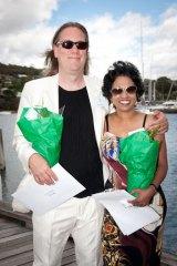 Brian Ritchie in Hobart with his partner Varuni Kulasekera.