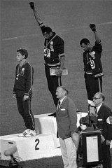 The iconic photo ... 1968 Olympian Peter Norman stood in solidarity with two black American athletes during a medal ceremony.