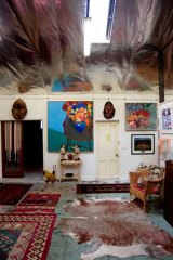 Inside Murray Walker's home.
